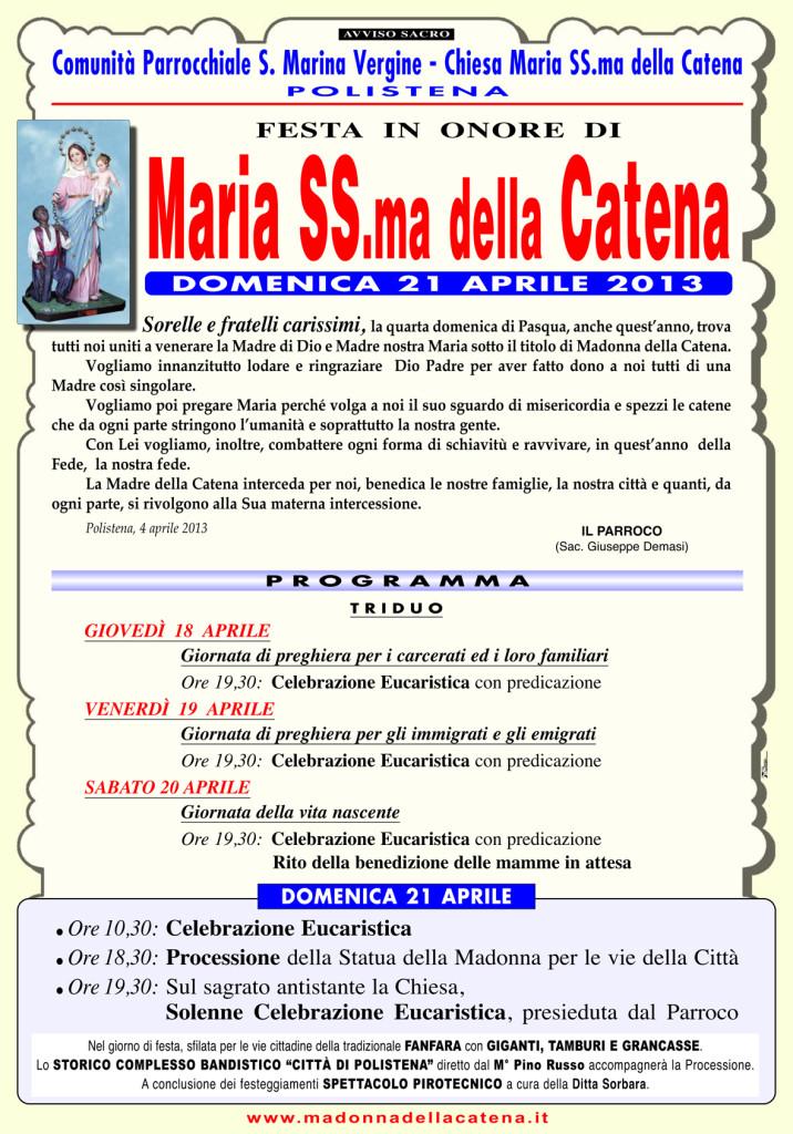 Madonna CATENA 2013_per sito:Madonna della CATENA/70x100
