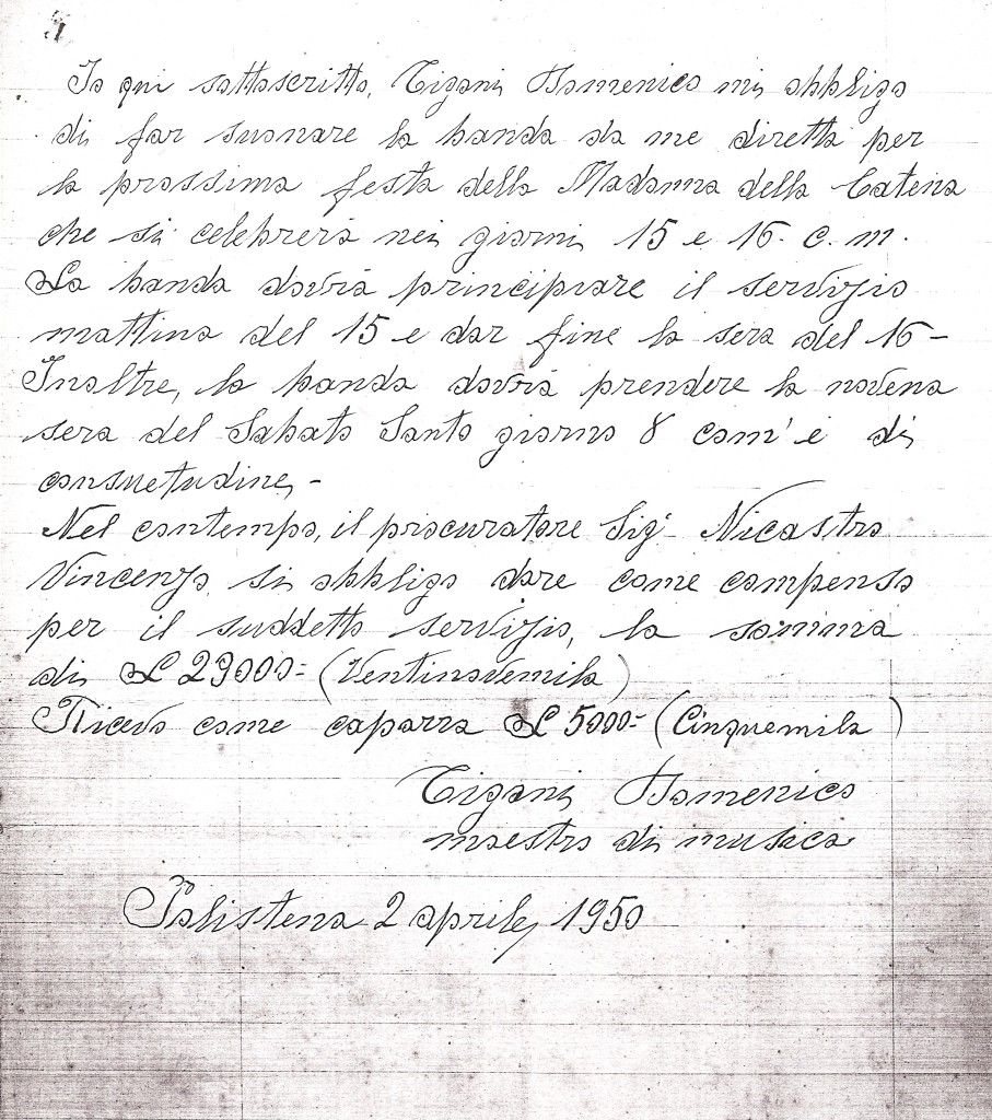 contratto banda cittadina del 1950