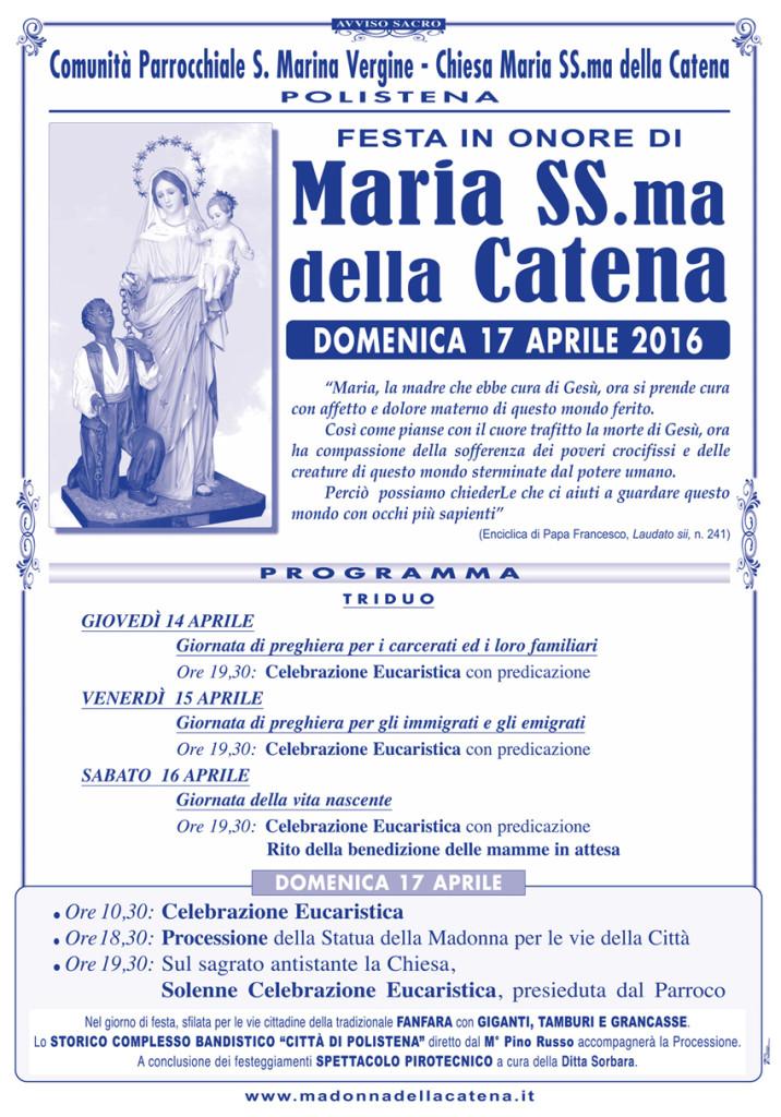 Madonna CATENA 2016-70x100:Madonna della CATENA/70x100