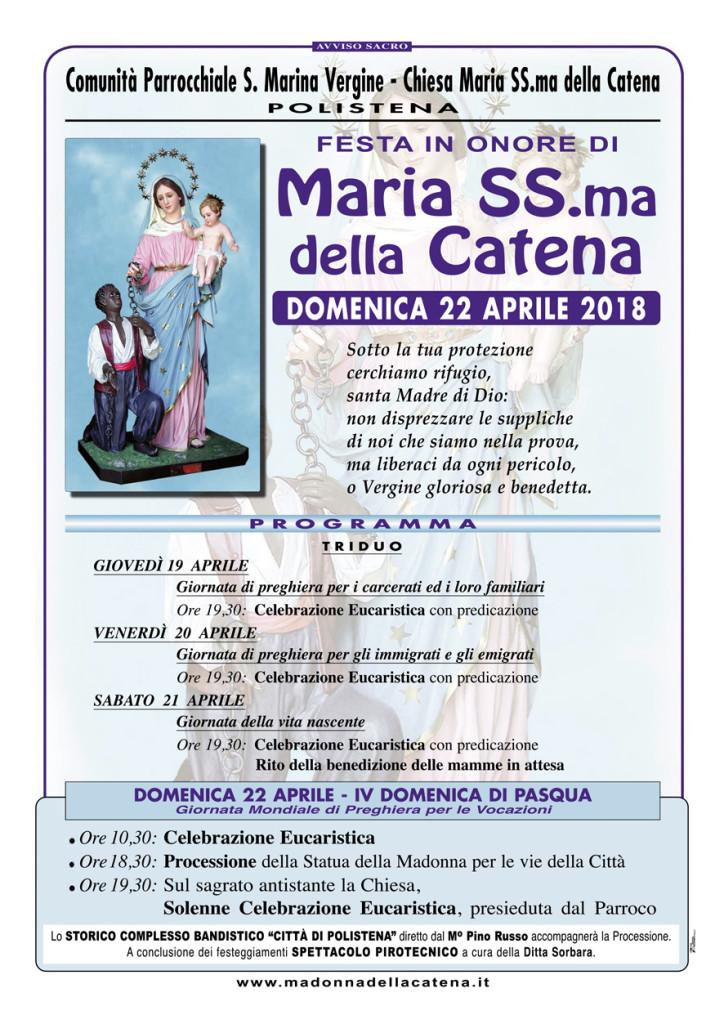 Madonna CATENA 2018-70x100:Madonna della CATENA/70x100